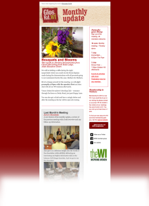 Example of our monthly update email, from June 2014. Bouquets and Blooms.