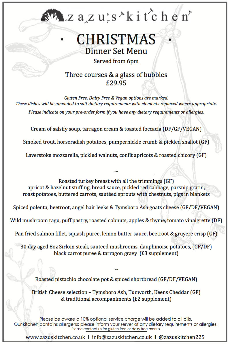 Zazu's Christmas menu 2015